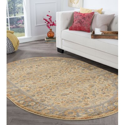 Ramiro Traditional Oriental Ivory Area Rug Rug Size: Oval 5 x 8