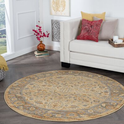 Ramiro Traditional Oriental Ivory Area Rug Rug Size: Round 6