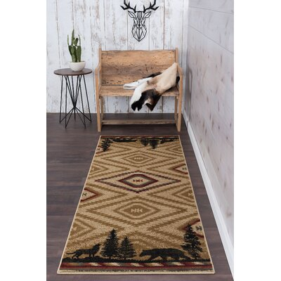Villicana Colorblock Wildlife Novelty Lodge Ivory Area Rug Rug Size: Runner 3 x 8
