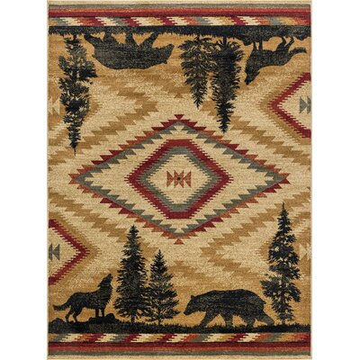 Villicana Colorblock Wildlife Novelty Lodge Ivory Area Rug Rug Size: Rectangle 5 x 8