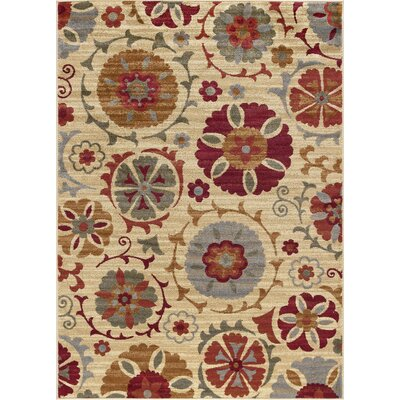 Karas Transitional Floral Cream Area Rug Rug Size: Rectangle 5 x 7