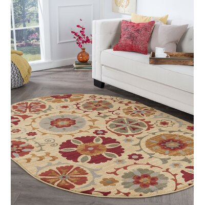 Karas Transitional Floral Cream Area Rug Rug Size: Oval 5 x 8
