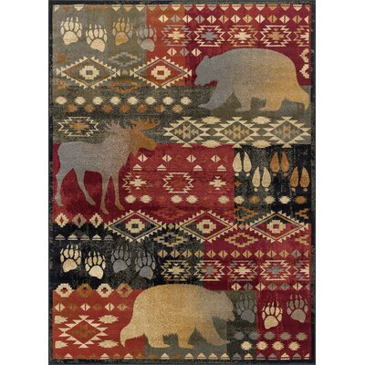 Villeda Novelty Lodge Red Area Rug Rug Size: Rectangle 5 x 8