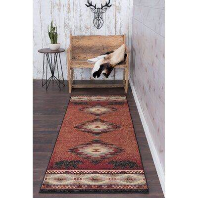 Villasenor Diamond Deer Novelty Lodge Red Area Rug Rug Size: Runner 3 x 8