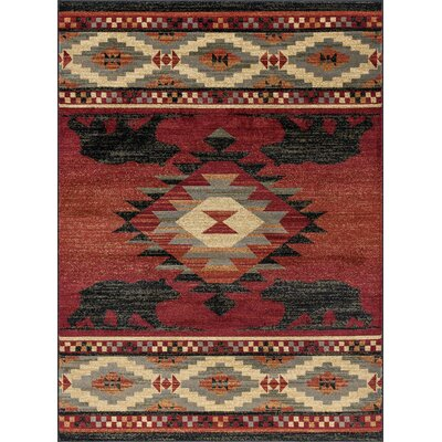 Villasenor Diamond Deer Novelty Lodge Red Area Rug Rug Size: Rectangle 8 x 11