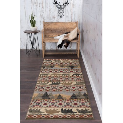 Villegas Homespun Cabin Novelty Lodge Ivory Area Rug Rug Size: Runner 3 x 8