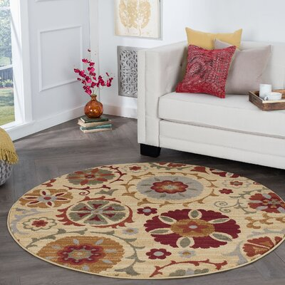 Karas Transitional Floral Cream Area Rug Rug Size: Round 6
