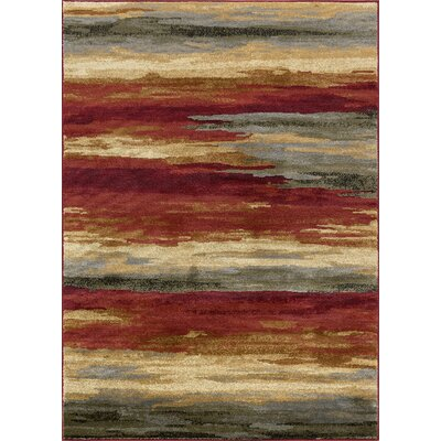 Karcher Contemporary Stripe Red Area Rug Rug Size: Rectangle 8 x 10