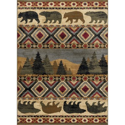 Villegas Homespun Cabin Novelty Lodge Ivory Area Rug Rug Size: Rectangle 5 x 8