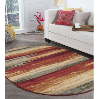 Karcher Contemporary Stripe Red Area Rug Rug Size: Oval 5 x 8