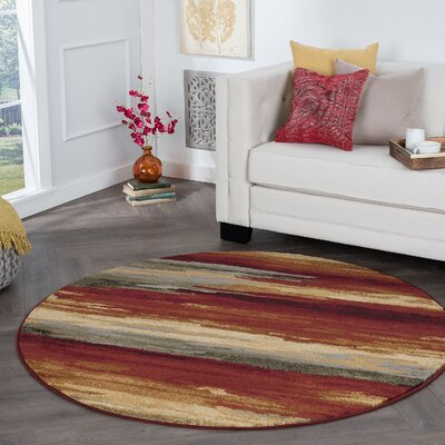 Karcher Contemporary Stripe Red Area Rug Rug Size: Round 6