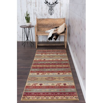 Villela Novelty Lodge Beige Area Rug Rug Size: Runner 3 x 8
