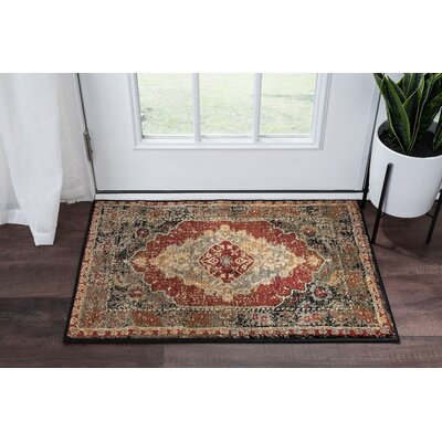 Falken Transitional Border Red Area Rug Rug Size: Rectangle 2 x 3
