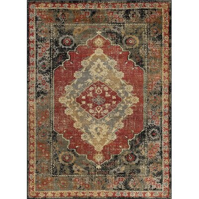 Falken Transitional Border Red Area Rug Rug Size: Rectangle 5 x 8