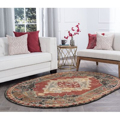 Falken Transitional Border Red Area Rug Rug Size: Oval 5 x 8