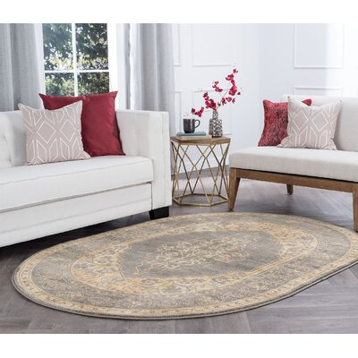 Ramm Transitional Border Ivory Area Rug Rug Size: Oval 5 x 8