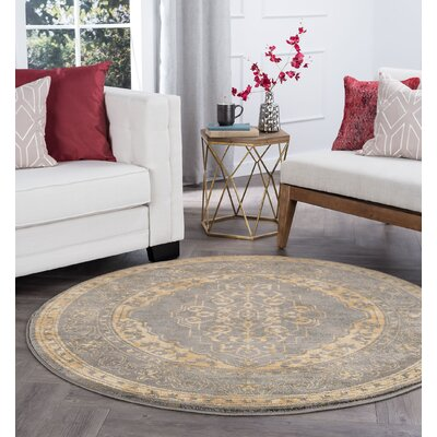 Ramm Transitional Border Ivory Area Rug Rug Size: Round 6