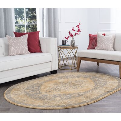 Ramm Transitional Border Beige Area Rug Rug Size: Oval 5 x 8