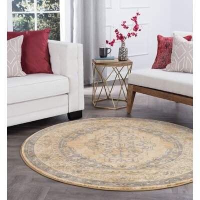 Ramm Transitional Border Beige Area Rug Rug Size: Round 6