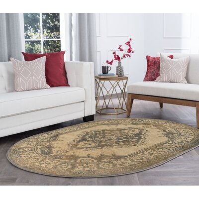 Falken Transitional Border Ivory Area Rug Rug Size: Oval 5 x 8