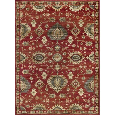 Mizer Transitional Border Red Area Rug Rug Size: Rectangle 9 x 12