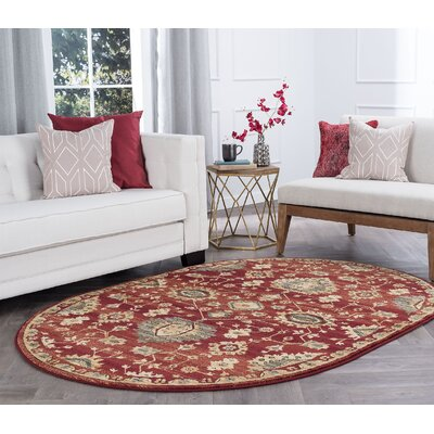 Mizer Transitional Border Red Area Rug Rug Size: Oval 5 x 8