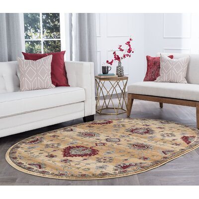 Mizer Transitional Border Beige Area Rug Rug Size: Oval 5 x 8