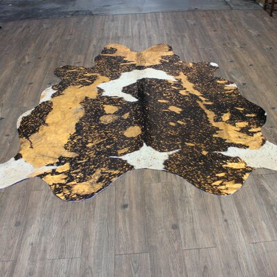 One-of-a-Kind Eustice Hand-Woven Cowhide Orange Area Rug