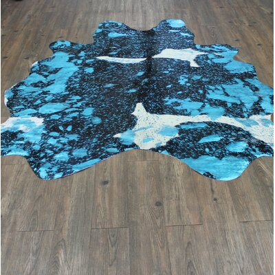One-of-a-Kind Hashimoto Premium Hand-Woven Cowhide Multi Blue Area Rug