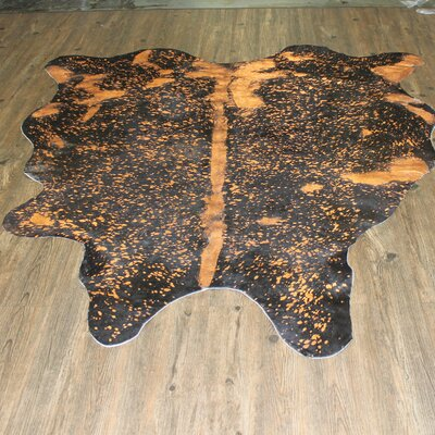 One-of-a-Kind Cuneo Hand-Woven Cowhide Rust Area Rug