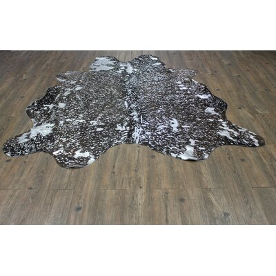One-of-a-Kind West Hewish Hand-Woven Cowhide Silver/Black Area Rug
