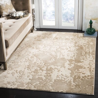 Hermina Beige/Cream Area Rug Rug Size: Rectangle 51 X 76