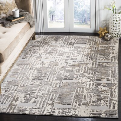 Hermina Gray/Cream Area Rug Rug Size: Rectangle 51 X 76