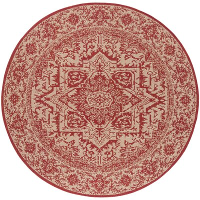 Burnell Red/Creme Area Rug Rug Size: Round 6'7