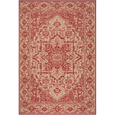Burnell Red/Creme Area Rug Rug Size: Rectangle 4 x 6