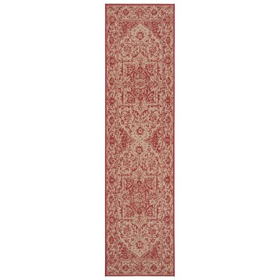 Burnell Red/Creme Area Rug Rug Size: Rectangle 2' X 8'