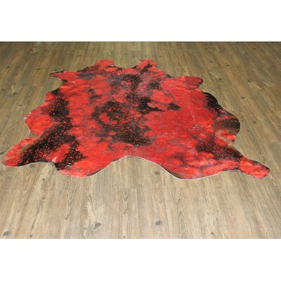 One-of-a-Kind Hasse Hand-Woven Cowhide Vibrant Red Area Rug