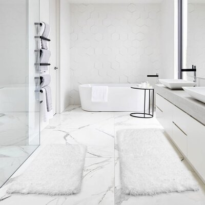 Bastine 2 Piece Soft Shaggy Mat Bath Rug Set Color: White