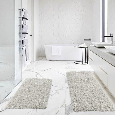 Bastine 2 Piece Soft Shaggy Mat Bath Rug Set Color: Silver