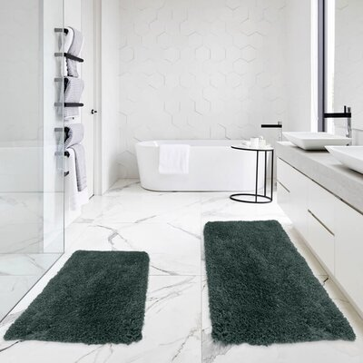 Bastine 2 Piece Soft Shaggy Mat Bath Rug Set Color: Gray