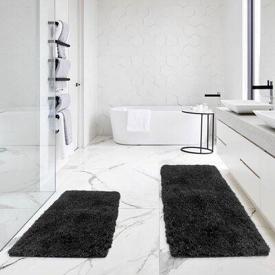 Bastine 2 Piece Soft Shaggy Mat Bath Rug Set Color: Black