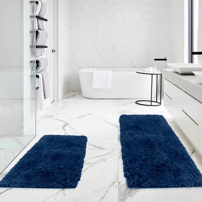 Bastine 2 Piece Soft Shaggy Mat Bath Rug Set Color: Royal Blue