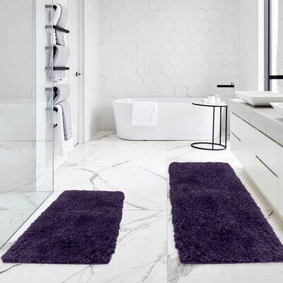 Bastine 2 Piece Soft Shaggy Mat Bath Rug Set Color: Purple