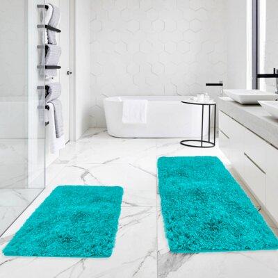 Bastine 2 Piece Soft Shaggy Mat Bath Rug Set Color: Teal