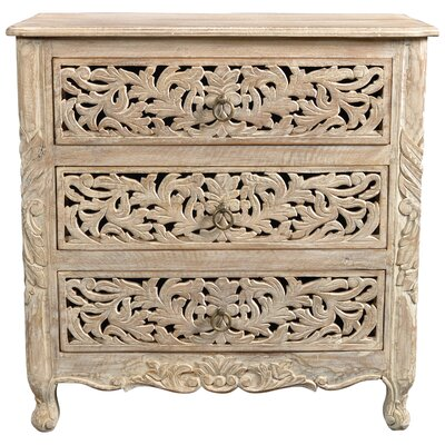 Buena Park Carved 3 Drawer Nightstand Color: Lime