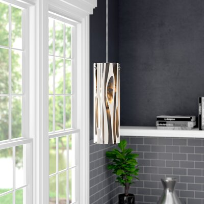 David 1-Light Mini Pendant Finish: Polished Chrome and Flow Glass