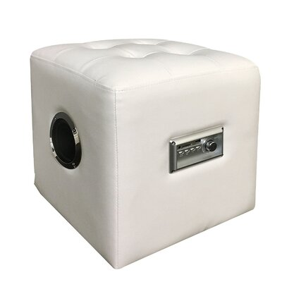 Ott Modern Bluetooth Speaker Sound Lounge Cube Ottoman Upholstery: White