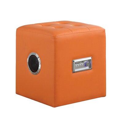 Ott Modern Bluetooth Speaker Sound Lounge Cube Ottoman Upholstery: Orange
