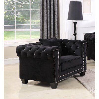 Iolanthe Upholstered Barrel Chair Upholstery: Black