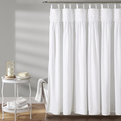 Aloysia Ruffle Single Shower Curtain Color: White